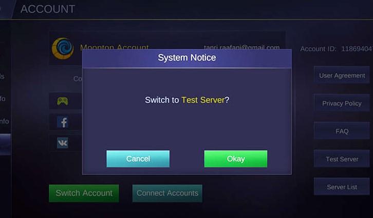 Advance Server Mobile Legends